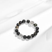 Vòng tay thạch anh mắt hổ xanh đen phối charm phật bạc (10mm) Ngọc Quý Gemstones