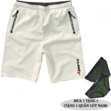 Quần short thể thao nam phối dây kéo lưng thun bản rộng hiệu dokafashion - BLACK SOT01 (tặng 1 quần lót nam)