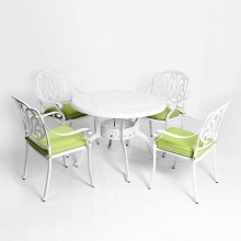Bộ bàn ghế sân vườn nhôm đúc màu trắng BG-03T
