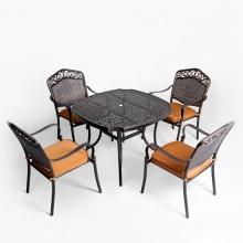 Bộ bàn ghế ngoài trời nhôm đúc màu nâu BG-05N