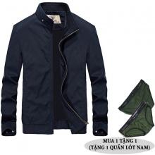 Áo khoác kaki nam dáng đứng thêu logo hiệu dokafashion BLACK NTHUE01 màu kem, xanh đen, xanh rêu (tặng 1 quần lót nam)