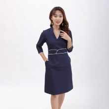 Váy đầm dáng ôm thời trang Eden cổ v viền màu xanh đen - D390
