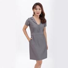 Váy đầm dáng ôm thời trang Eden cổ v cách điệu màu xám - D389