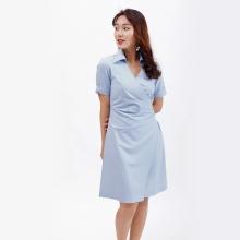 Váy đầm chữ a thời trang Eden cổ sơ mi xếp li eo màu xanh - D388