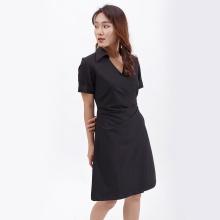 Váy đầm chữ a thời trang Eden cổ sơ mi xếp li eo màu đen  - D388