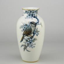 Bình hoa 27 cm - Chích Chòe và Quả Quất - Cobalt vàng