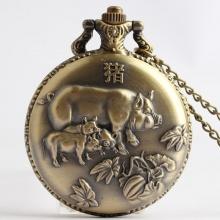 Đồng hồ pin bỏ túi cổ điển retro năm tuổi 12 con giáp tuổi Hợi Heo