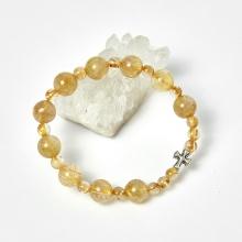 Vòng chuỗi Mân Côi đá thạch anh tóc vàng hạt đá 10mm, ni 52 - Ngọc Quý Gemstones