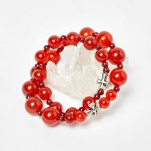 Cặp vòng chuỗi Mân Côi mẹ và bé đá mã não đỏ ni 52, ni 40 - Ngọc Quý Gemstones