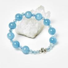 Vòng chuỗi Mân Côi đá Aquamarine hạt đá 10mm, ni 50 - Ngọc Quý Gemstones