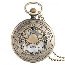 Đồng hồ pin quả quýt bỏ túi cổ điển retro tháng sinh 12 cung hoàng đạo Cự Giải Bắc Giải Cancer