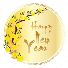 Decal dán tường Happy new year PK594