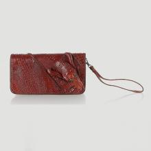 Ví nữ da cá sấu Huy Hoàng nhiều ngăn đầu cá sấu đan viền màu nâu đỏ HVS3733