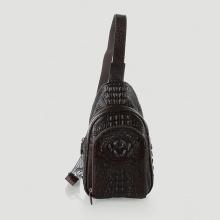 Túi đeo trước nam da cá sấu Huy Hoàng màu nâu đất HV6286