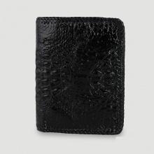 Bóp nam Huy Hoàng da cá sấu nguyên con đan viền kiểu đứng màu đen HV2761