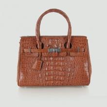 Túi xách nữ da cá sấu Huy Hoàng sang trọng màu nâu đỏ HV6298