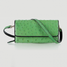 Túi đeo da đà điểu Huy Hoàng da bụng màu xanh lá HV6428