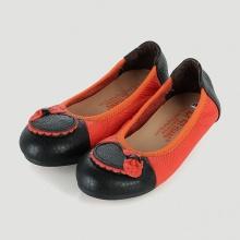 Giày trẻ em nữ Huy Hoàng da bò màu cam phối đen HV7864