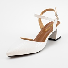 Giày nữ, giày cao gót kitten heels Erosska bít mũi phối dây thời trang cao 5 cm EK007 (WH)
