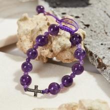 Vòng tay Mân Côi đá thạch anh tím hạt 10mm, ni 52 - Ngọc Quý Gemstones