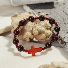 Vòng tay Mân Côi đá garnet ngọc hồng lựu hạt 10mm, ni 52 - Ngọc Quý Gemstones
