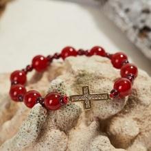 Vòng tay Mân Côi đá mã não đỏ hạt 10mm, ni 52 - Ngọc Quý Gemstones