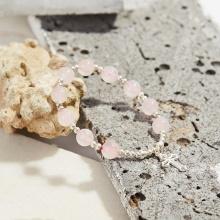 Vòng tay Mân Côi đá thạch anh hồng hạt 10mm, ni 52 - Ngọc Quý Gemstones