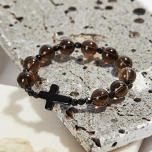 Vòng tay Mân Côi đá thạch anh khói hạt 10mm, ni 52 - Ngọc Quý Gemstones