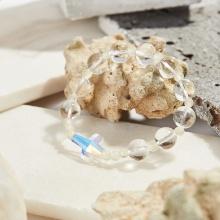 Vòng tay Mân Côi đá thạch anh trắng thánh giá pha lê hạt 10mm, ni 52 - Ngọc Quý Gemstones