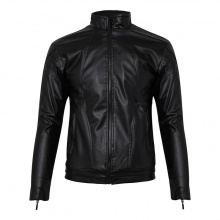Áo khoác da nam lót lông bonado ak81 - màu đen