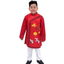 Sét áo dài gấm bé trai họa tiết đèn lồng kèm quần Vinakids màu đỏ (2-14 tuổi)