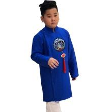 Sét áo dài gấm bé trai họa tiết thêu đắp phối dây kèm quần Vinakids màu xanh (2-14 tuổi)