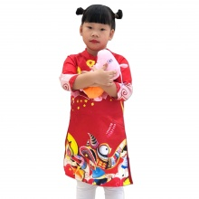 Áo dài gấm cách tân bé gái 3D Vinakids màu đỏ (2-14 tuổi)