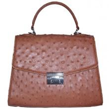 Túi hộp đeo chéo nữ Huy Hoàng da đà điểu màu nâu đỏ HV6460