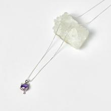 Dây chuyền mặt hồ ly bạc màu tím 12x10mm - Ngọc Quý Gemstones