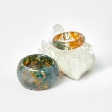 Cặp nhẫn nam nữ băng ngọc thủy tảo huyết ni 17, 20 mệnh hỏa, mộc - Ngọc Quý Gemstones