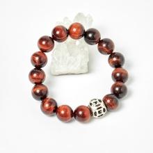 Vòng tay nam đá thạch anh mắt hổ nâu đỏ phối charm bạc hạt 10mm, đk 52mm - Ngọc Quý Gemstones