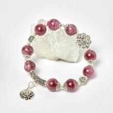 Vòng tourmaline hồng phối charm bát bảo bạc hạt 10mm, đk 52mm mệnh hỏa, thổ - Ngọc Quý Gemstones