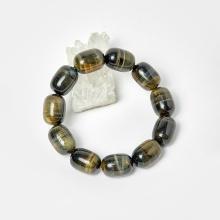 Vòng lu thống đá thạch anh mắt hổ xanh đen hạt 18x13mm, ni 52 mệnh thủy, mộc - Ngọc Quý Gemstones
