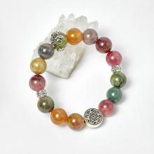 Vòng đá tourmaline đa sắc phối charm bạc hạt 10mm, ni 52 - Ngọc Quý Gemstones