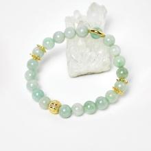 Vòng cẩm thạch phỉ thúy phối charm bạc mạ vàng 24k hạt 8mm, ni 50 mệnh hỏa, mộc - Ngọc Quý Gemstones