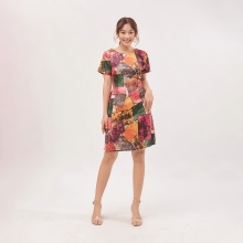 Váy đầm suông thời trang Eden in họa tiết hình khối - D391