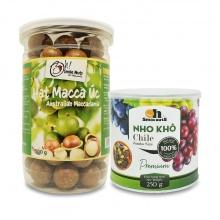 Combo hạt macca Úc 500g + nho khô mix Chile lon 250g Smile Nuts
