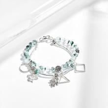 Vòng tay 2 line thạch anh ưu linh xanh phối bàn tay hamsa bạc (6mm) Ngọc Quý Gemstones