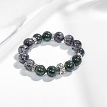 Vòng tay đá thạch anh tóc xanh phối thạch anh tóc đen charm lục tự (12mm) Ngọc Quý Gemstones