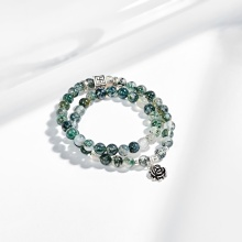 Vòng tay 2 line băng ngọc thủy tảo phối charm bạc (7mm) Ngọc Quý Gemstones