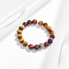 Vòng tay đá thạch anh mắt hổ phối charm tròn bạc (10mm) Ngọc Quý Gemstones