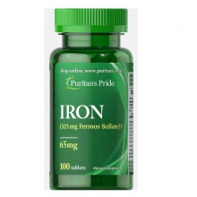 Viên uống bổ sung sắt Puritan's Pride Iron Ferrous Sulfate 65mg (100 viên)