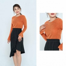 Áo kiểu cách điệu màu cam HeraDG - WAK18073