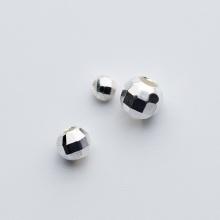 Charm bi bạc đa giác trơn xỏ ngang 4mm - Ngọc Quý Gemstones